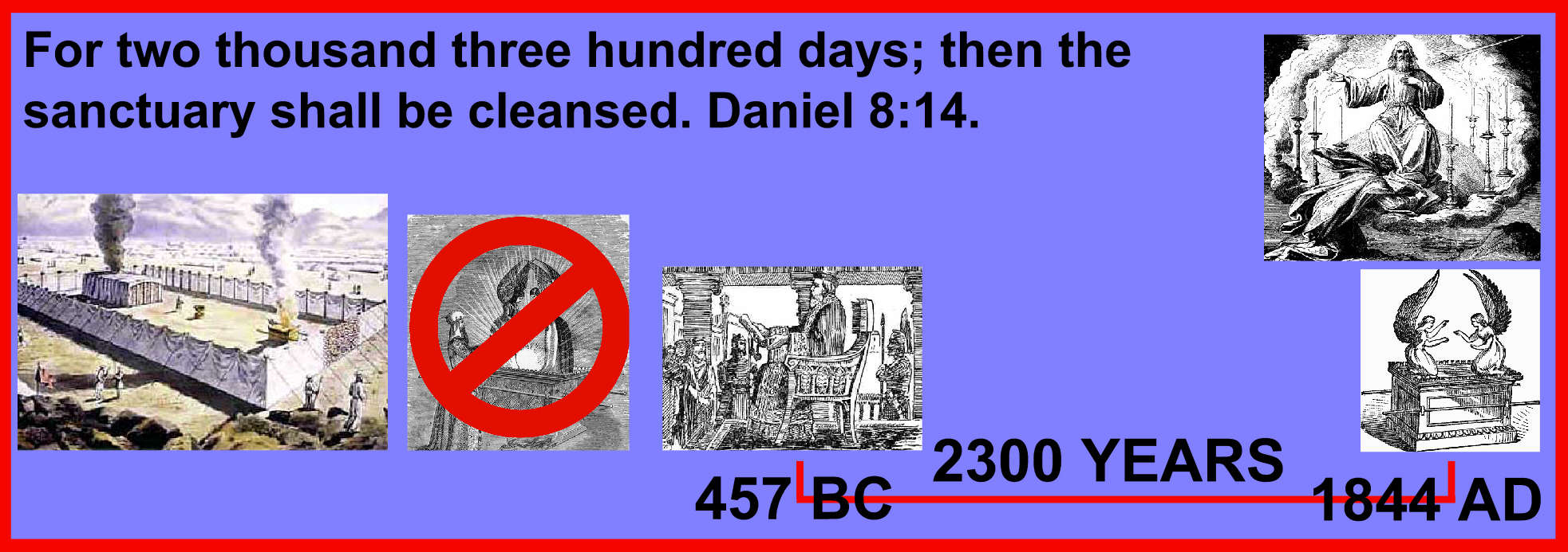 For two thousand three hundred days; then the sanctuary shall be cleansed. Daniel 8:14.