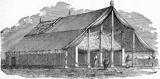 Tent structure of sanctuary in wilderness